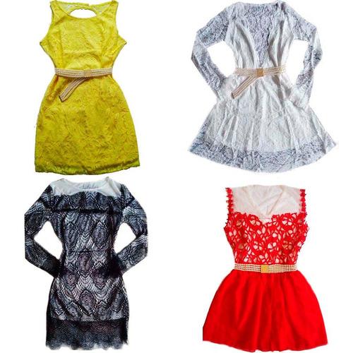 roupas femininas no atacado vestido de renda kit quatro peça