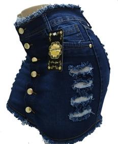 24cc46d132 Roupas Femininas Saia Jeans Curta Com Lycra Botoes