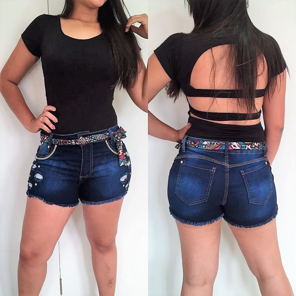 73f421cac2 roupas femininas short jeans lycra rasgo pedras unli  shpm01. Carregando  zoom.