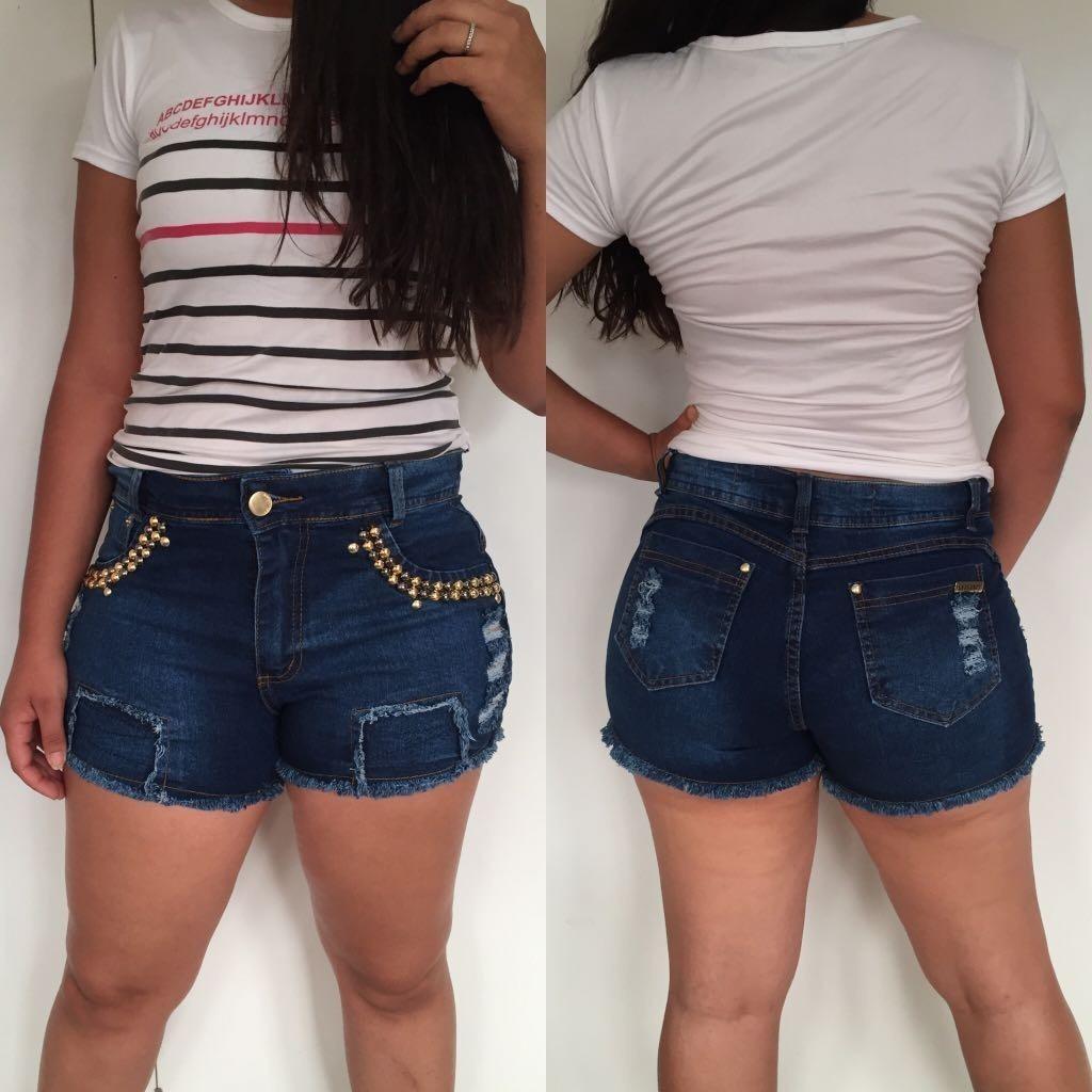 c4affd2757 roupas femininas short jeans lycra rasgo pedras unli  shpm05. Carregando  zoom.
