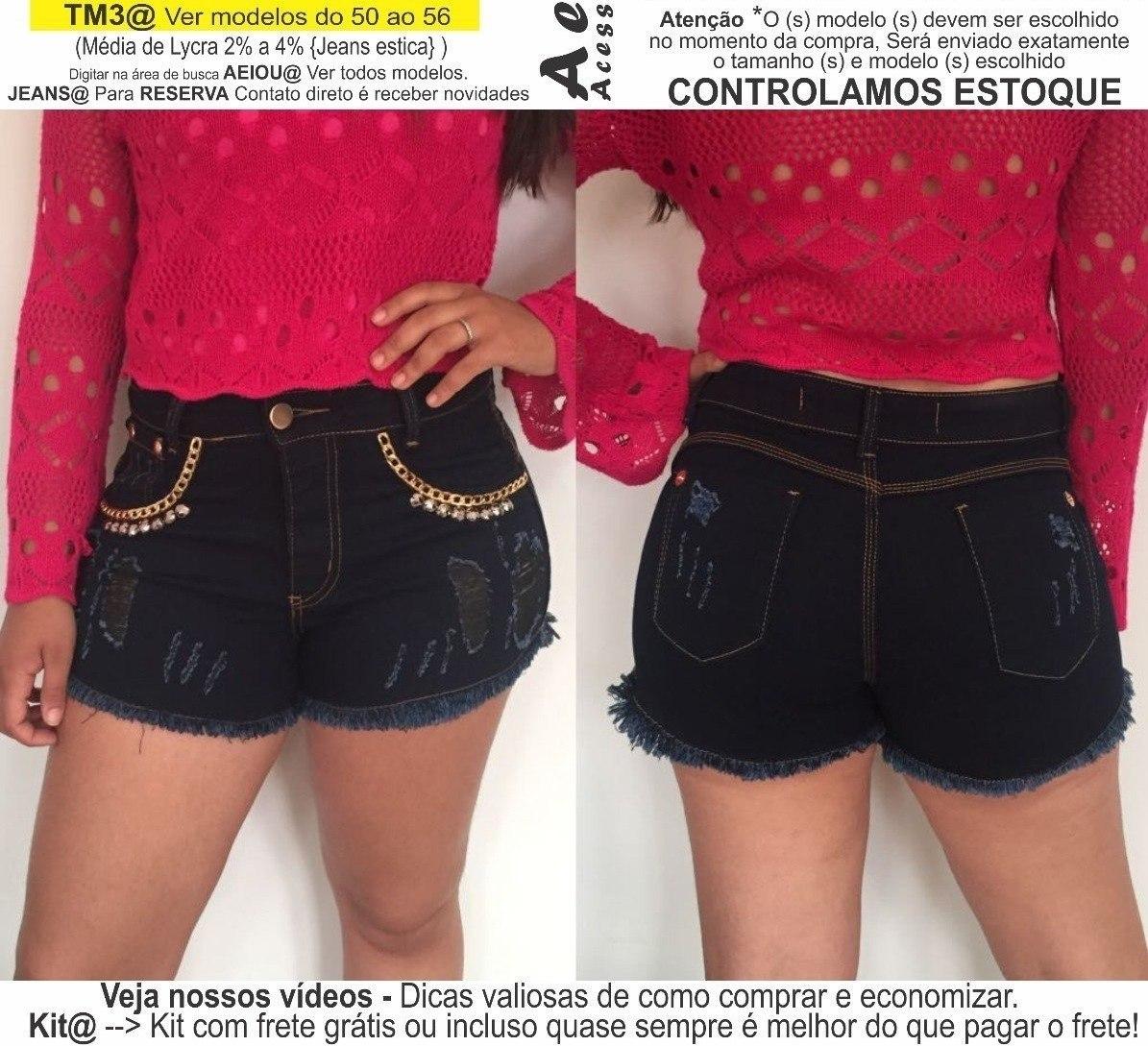 3510a7f7f2 roupas femininas short jeans lycra rasgo pedras unli  shpm10. Carregando  zoom.