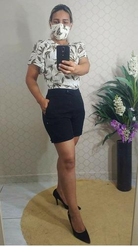 roupas femininas social, blusa, calça bermuda de alfaiataria