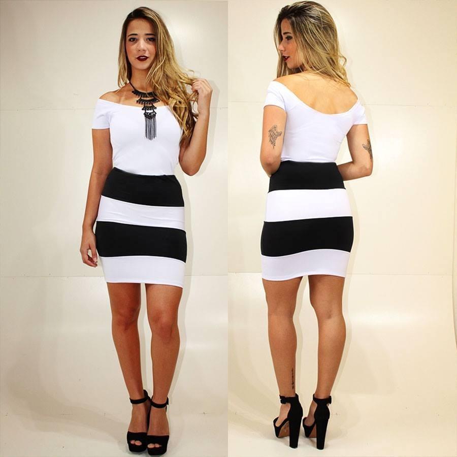d8bf4b4793 roupas femininas vestido festa preto e branco listrado ombro. Carregando  zoom.