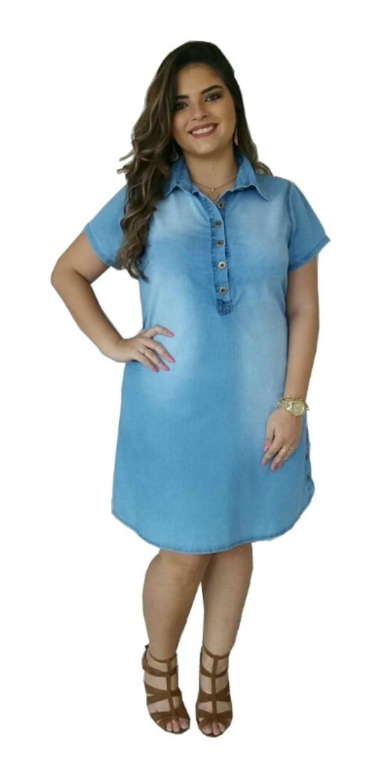 a63372237c6f roupas femininas vestido jeans plus size moda evangélica 019. Carregando  zoom.