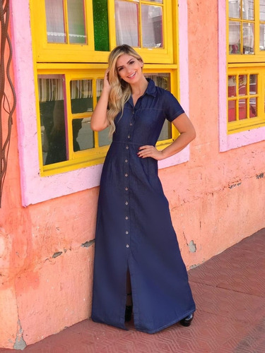 roupas femininas vestido longo jeans moda evangélica ref 040