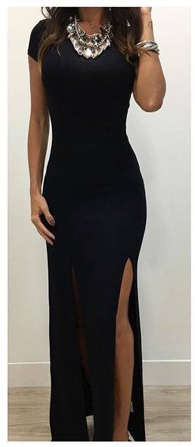 Vestido longo manga curta malha
