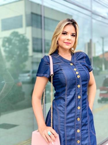 roupas femininas vestido plus size longo jeans botões 0054