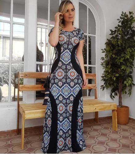 roupas femininas vestidos não jeans longo estampado 2791