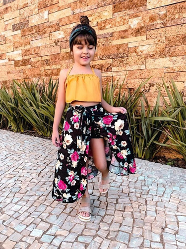 roupas infantil menina cropped babado mostarda saia preta