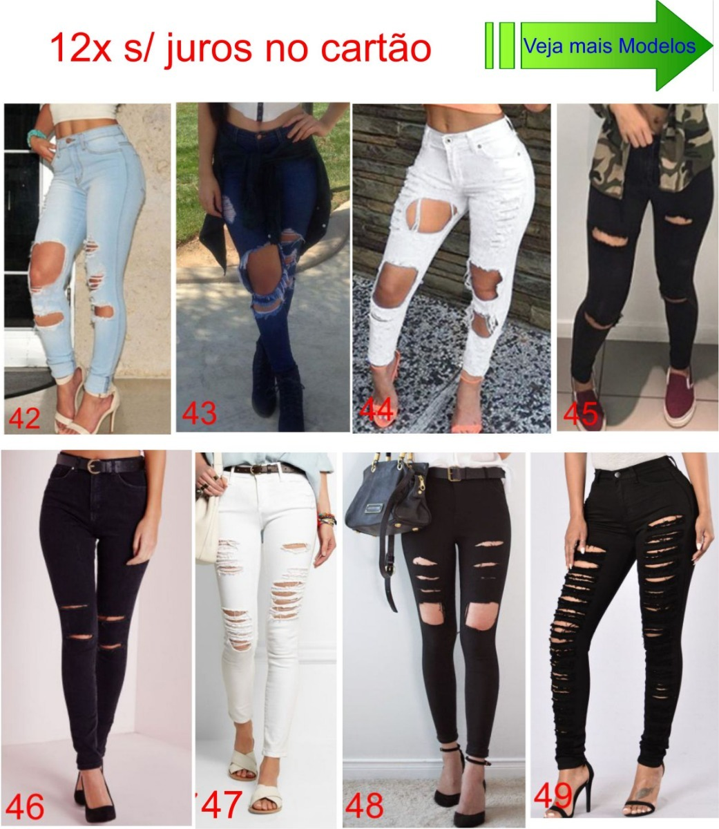 2df955ea8 Carregando zoom... 2 calça feminina roupas jeans cintura alta dins lycra ...