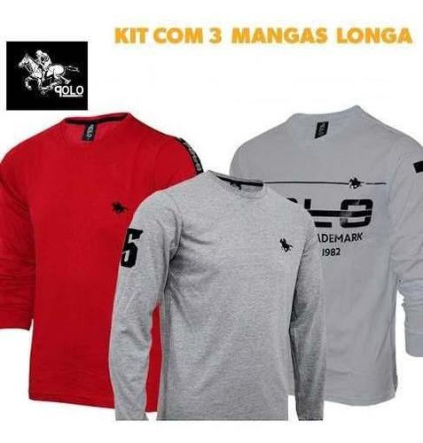 roupas masculinas no kit manga longa polo rg518