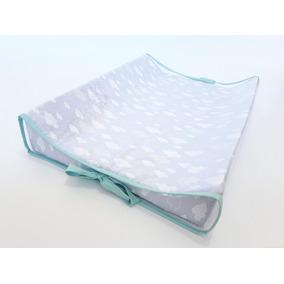20b87f16f5970 Trocador Para Bebê Nuvens Fundo Cinza Com Laços Tiffany