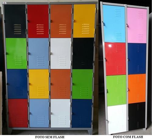 roupeiro em aço p/  vestiário 16 portas coloridas p academia