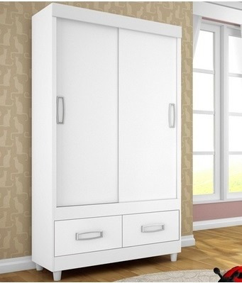 roupeiro guarda roupa 2 portas correr 4 gavetas branco 025