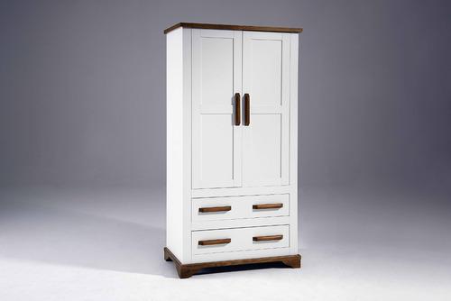 roupeiro guarda roupas madeira maciça 2 portas 2 gavetas