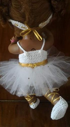 roupinha baby alive bailarina em crochê branca