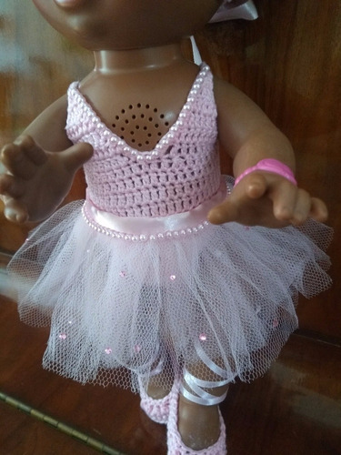 roupinha baby alive bailarina em crochê rosa com tule