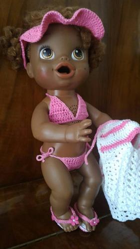 roupinha baby alive biquíni rosa e branco com viseira