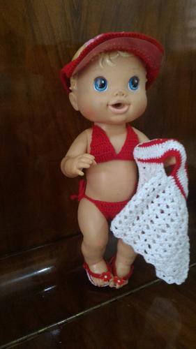 roupinha baby alive biquíni vermelho e branco com viseira