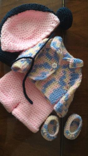 roupinha baby alive crochê jardineira colorida com fone