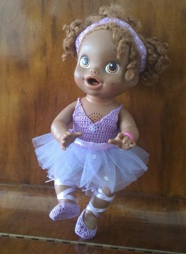 roupinha baby alive de bailarina lilás crochê com florzinhas