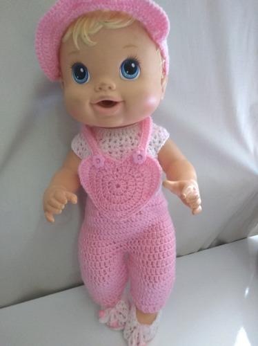 roupinha baby alive jardineira rosa de coração com boné