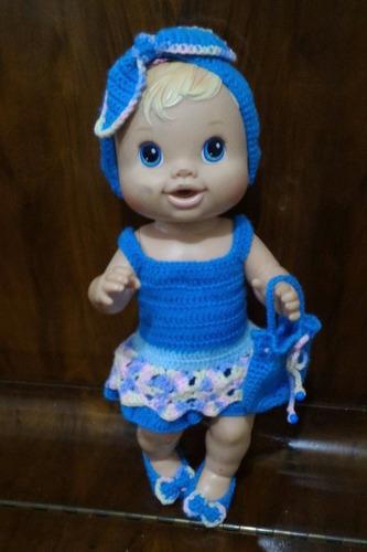 roupinha baby alive vestidinho em croche azul