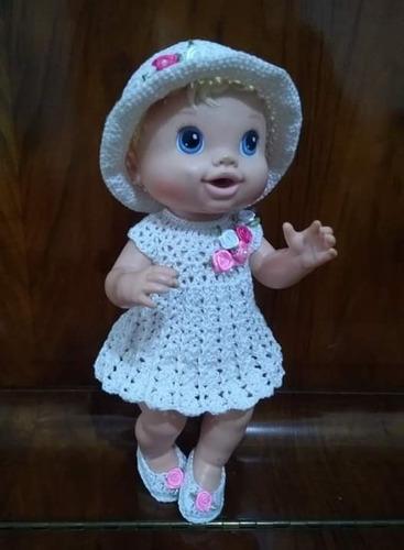 roupinha baby alive vestidinho marfim em crochê com chapéu