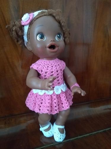 roupinha baby alive vestidinho rosa em crochê