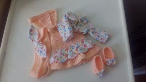 roupinha baby alive vestido em crochê salmão colorida