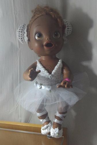 roupinha ballet branca para baby alive ou semelhantes