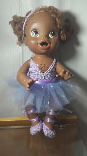 roupinha de bailarina lilás para baby alive ou semelhantes