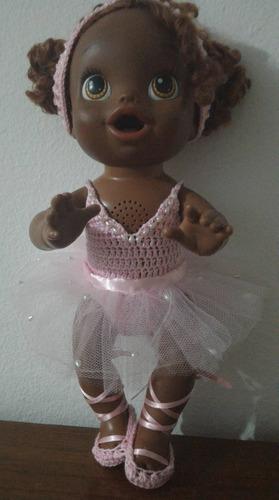 roupinha de bailarina para baby alive em crochê e tule