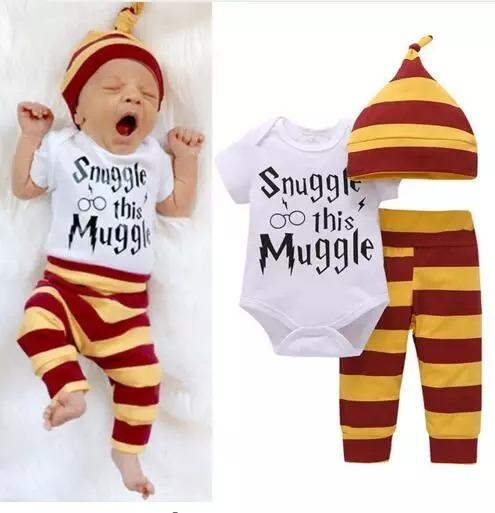 zapatos para baratas Moda gran variedad de estilos Roupinha De Bebê Pijama Harry Potter Com Body, Calça E Touca
