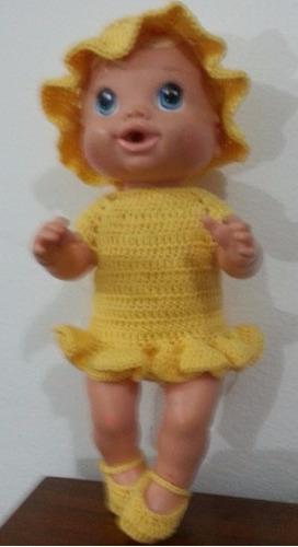 roupinha de crochet amarela para boneca baby alive