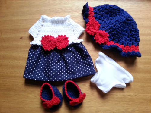 roupinha de crochet e pano para boneca baby alive e parecida