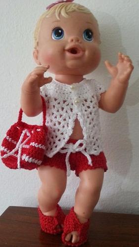 roupinha de crochet para boneca baby alive vermelha
