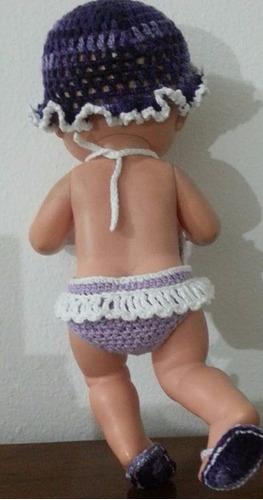 roupinha de crochet roxa e branca para boneca baby alive