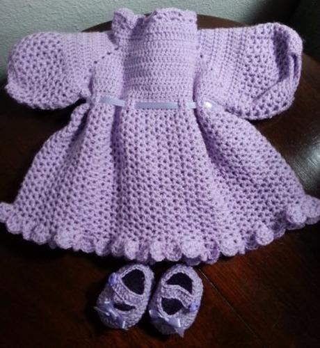 roupinha de crochet roxa para boneca baby alive e semelhante