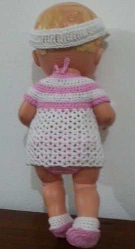 roupinha de praia de crochê rosa e branca baby alive