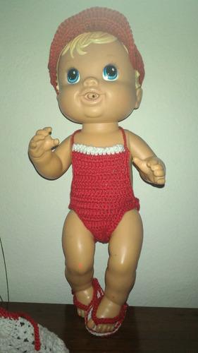roupinha de praia vermelha branca baby alive com sacola