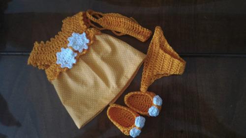 roupinha laranja de pano e crochê para baby alive e outras