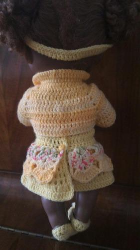 roupinha para baby alive amarela com casaquinho e tiara