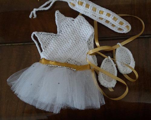 roupinha para baby alive de bailarina branca e dourada