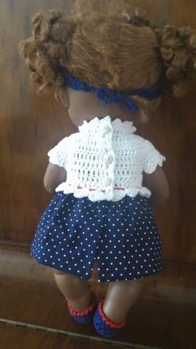 roupinha para baby alive de crochê e pano branca e azul