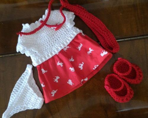 roupinha para baby alive de crochê e pano com cavalinhos