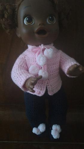 roupinha para baby alive de crochê rosa e azul marinho