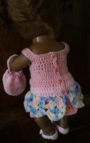 roupinha para baby alive em croche rosa com tiara e bolsa