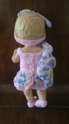 roupinha para baby alive rosa com casaquinho e tiara