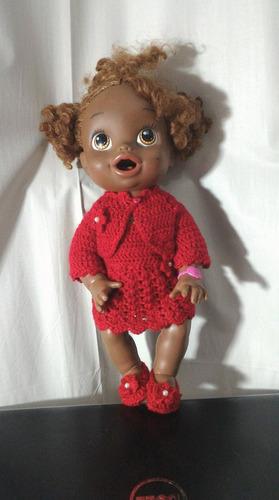 roupinha vermelha crochê para baby alive ou semelhantes